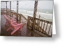 Rainy Beach Evening Greeting Card