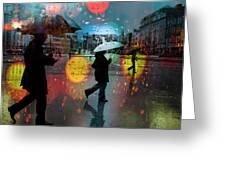 Rainy City Scene Greeting Card