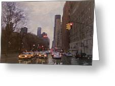 Rainy City Street Greeting Card