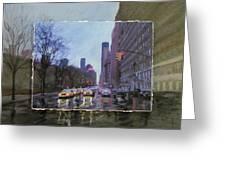 Rainy City Street Layered Greeting Card by Anita Burgermeister
