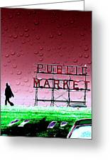 Rainy Day At The Market Greeting Card