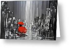 Rainy Day City Girl In Red Greeting Card