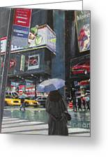 Rainy Day In Times Square Greeting Card
