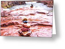Rainy Day Stone Cairns In Sedona Greeting Card