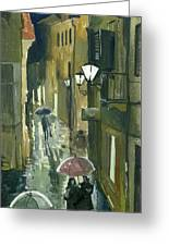 Rainy Evening In Kotor Greeting Card