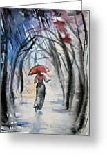 Rainy Fantasy With Red Umbrella Greeting Card