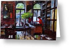 Rainy Morning In The Restaurant Greeting Card