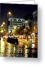 Rainy Night In Green Bay Greeting Card