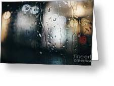 Rainy Window City Lights Greeting Card