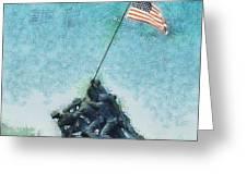 Raising The Flag Greeting Card by John Winner