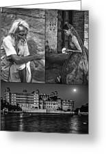 Rajasthan Collage Bw Greeting Card