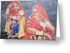 Rajasthani Ladies With Traditional Jewelry Greeting Card