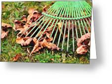 Raking The Fallen Autumn Leaves Greeting Card