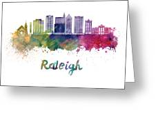 Raleigh V2 Skyline In Watercolor Greeting Card