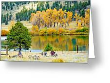 Ranch Pond In Autumn Greeting Card