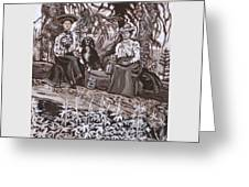 Ranch Women Picking Berries Historical Vignette Greeting Card