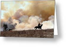 Rancher Starting A Controlled Burn Greeting Card