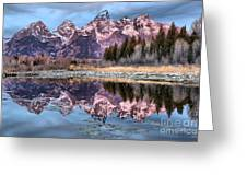 Grand Teton Snow Capped Reflections Greeting Card