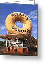 Randy's Donuts Greeting Card by Russell Pierce