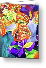 Ranunculus And Iris Greeting Card