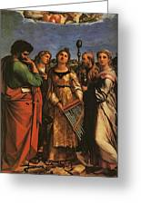 Raphael St Cecilia With Sts Paul John Evangelists Augustine And Mary Magdalene Greeting Card