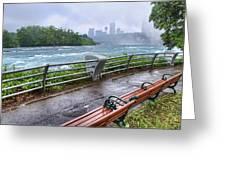 Rapids In The Rain Greeting Card