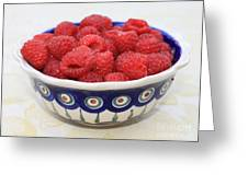 Raspberries In Polish Pottery Bowl  Greeting Card