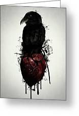 Raven And Heart Grenade Greeting Card