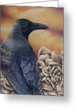 Raven And Roses Greeting Card