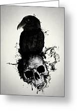 Raven And Skull Greeting Card