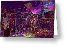 Raven Castle Ruin Trees Sky  Greeting Card