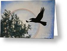 Raven Holds The Sun Greeting Card