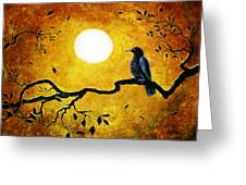 Raven In Golden Splendor Greeting Card