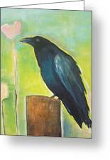Raven In The Garden Greeting Card
