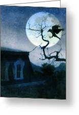 Raven Landing On Branch In Moonlight Greeting Card