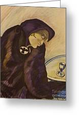 Raven - The Absinthe Drinker Greeting Card