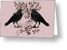 Ravens And Anatomical Heart Greeting Card