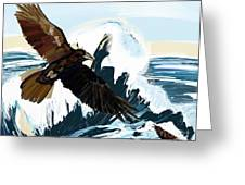 Ravens And The Stormy Sea Greeting Card