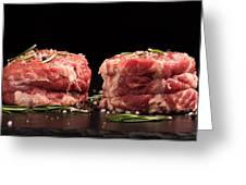 Raw Steak Meat On The Dark Surface Greeting Card