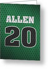Ray Allen Boston Celtics Retro Vintage Jersey Closeup Graphic Design Greeting Card