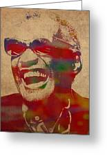 Ray Charles Watercolor Portrait On Worn Distressed Canvas Greeting Card