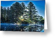 Rays Of Light On The Androscoggin River Greeting Card