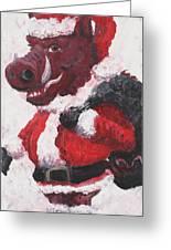 Razorback Santa Greeting Card by Nadine Rippelmeyer