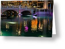 Razzle Dazzle - Colorful Neon Lights Up Canals And Gondolas At The Venetian Las Vegas Greeting Card