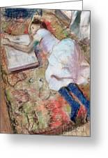 Reader Lying Down Greeting Card