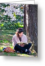 Reading Beneath The Cherry Blossoms Greeting Card