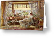 Reading By The Window Greeting Card