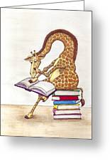 Reading Giraffe Greeting Card by Julia Collard