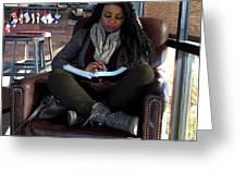 Reading In Starbucks Greeting Card