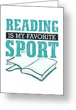 Reading Is My Favorite Sport Light Blue Greeting Card